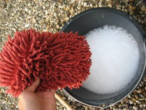 Soft sponge and wash the product as you wash caravan