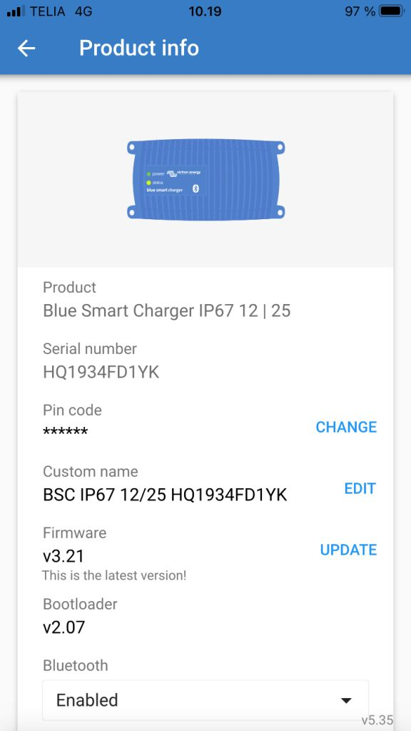 Victron Blue Smart IP67 25A Si10